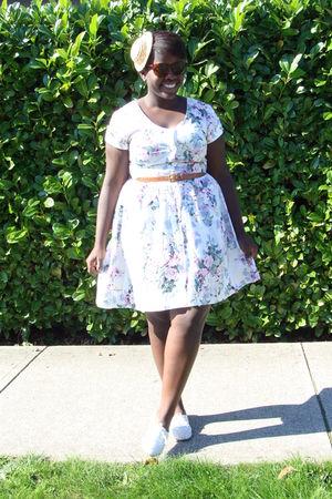 white dress - beige hat - white shoes