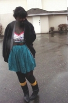 sweater - vest - top - skirt - forever 21 socks - boots