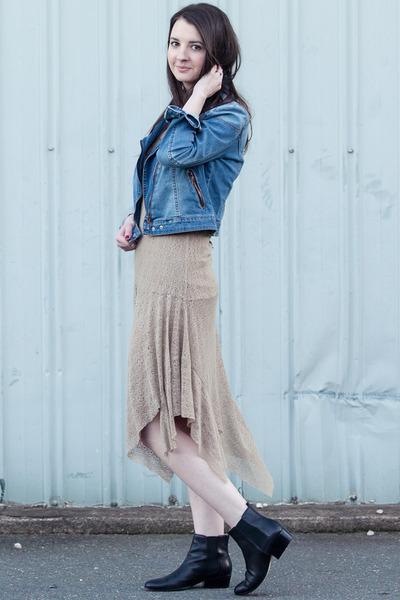 jean Mango jacket - leather Michael Kors boots - lace KayLim dress