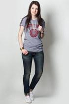navy rag & bone jeans - heather gray t-shirt - white Superga sneakers