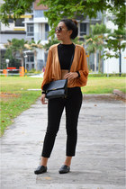 black H&M bag - black crop top Daisy Street top - bronze Miss Selfridge cardigan