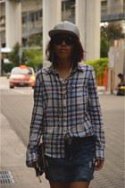 heather gray leather asos hat - black cotton on sunglasses - crimson H&M blouse