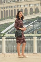 dark green vintage Gucci watch - maroon vintage dress Vero Moda dress