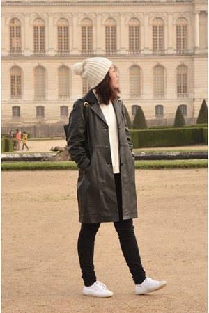 black leather vintage coat - black denim COS jeans - off white beanie Zara hat