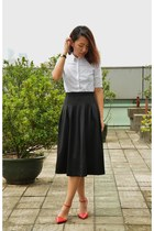 white white blouse COS blouse - black midi skirt SUPRÉ skirt