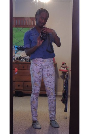 restricted shoes - Delias jeans - blue denim button up blouse