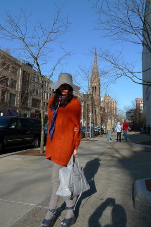 orange H&M cardigan - blue vintage scarf - gray Vivienne Westwood  Melissa shoes