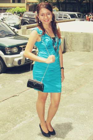 black Dana collection shoes - turquoise blue Forever21 dress - black Prada bag