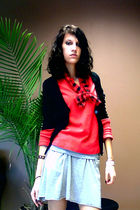 red sweater - silver skirt - red scarf - white shoes
