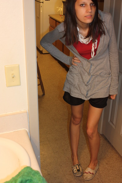red shirt - silver cardigan - black Target shorts - white TOMS shoes