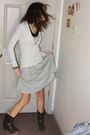 Silver-dress-black-american-eagle-top-white-sweater-black-boots