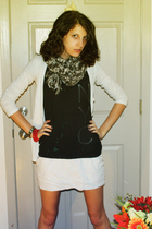 black American Eagle shirt - white cardigan - white Armani Exchange dress - gray