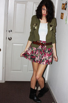 white top - green cardigan - pink skirt - black boots - brown belt