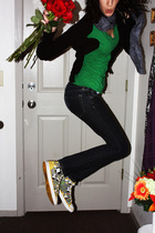 green shirt - black cardigan - silver Harajuku shoes - silver calvin klein hat -