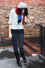 Blue-pacific-sunwear-shirt-black-shirt-silver-sweater-black-boots-red-sc
