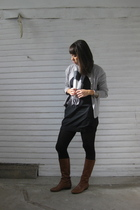 silver thrifted cardigan - black Target dress - gray gift scarf - black Target t