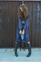 blue dress - gray boots