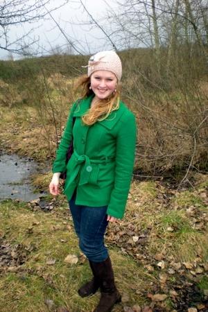 Delias coat - DKNY jeans - Lands End boots - Street Vendor hat - Gem Story earri