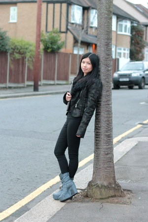 heather gray H&M boots - black Zara jeans - light pink Diesel bag