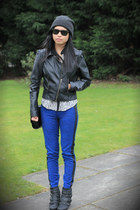blue Zara pants - black H&M jacket - black ASH sneakers
