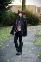 black Zara boots - black Topshop coat - maroon Primark hat