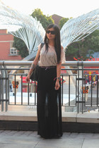 black Oasis skirt - gray balenciaga bag - black Ray Ban sunglasses