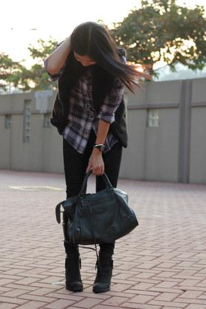 black Topshop boots - black Zara jeans - navy Topshop shirt