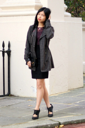 brick red lace dress French Connection dress - charcoal gray River Island jacket