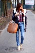 SH jeans - SH jacket - navy Topshop shirt - SH scarf - SH bag
