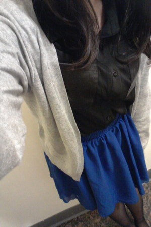 blue Taobao skirt - black leather pockets Pazzo shirt - silver H&M cardigan