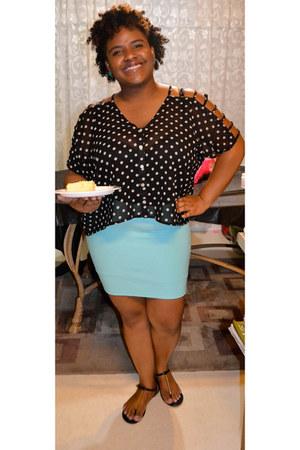 black sandals - aquamarine Forever 21 skirt