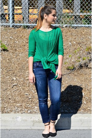 green cashmere Blue fly sweater - navy skinny jeans Zara jeans