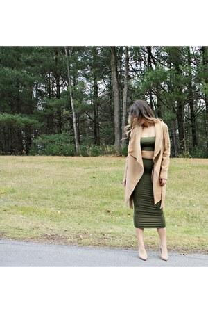 tan camel Fashion Nova coat - forest green midi Fashion Nova skirt