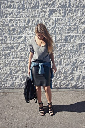 black fringe Topshop bag - heather gray cotton H&M t-shirt