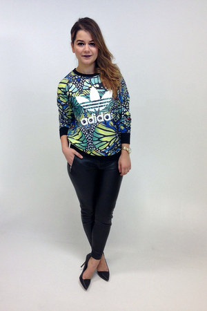 black faux leather Zara pants - blue butterfly print Adidas jumper