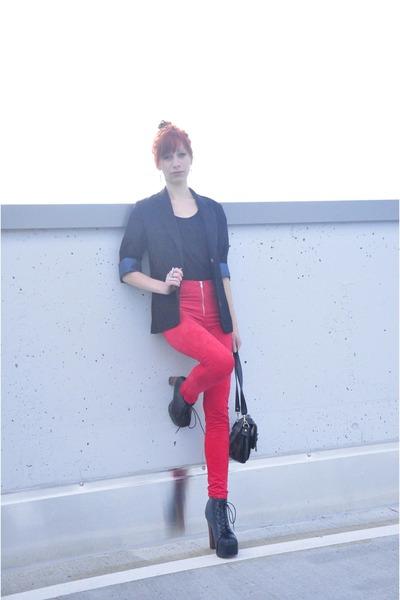 red leggings - black bag - black suit - black top - heather gray ring