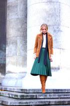 suede Zara boots - suede Zara jacket - Primark shirt - pleated skirt Zara skirt