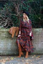 burnt orange suede Zara boots - brick red flowers H&M dress