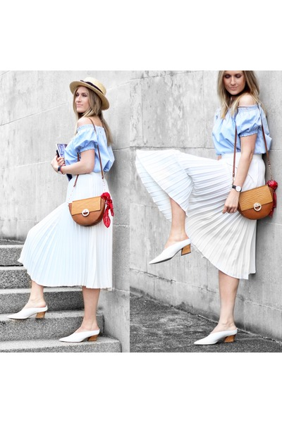 74bc68f2eb24 light blue off shoulder H M top - white pleated Zara skirt - white Zara  heels