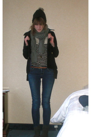 Primark belt - Topshop cardigan - Topshop coat - Urban Outfitters top