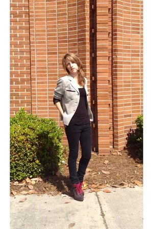 neutral thrifted blazer - charcoal gray thrifted heels
