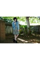 aquamarine Forever 21 dress - light blue denim thrifted jacket