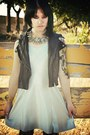 Black-chain-kohls-boots-light-blue-thrited-dress-teal-abalone-necklace