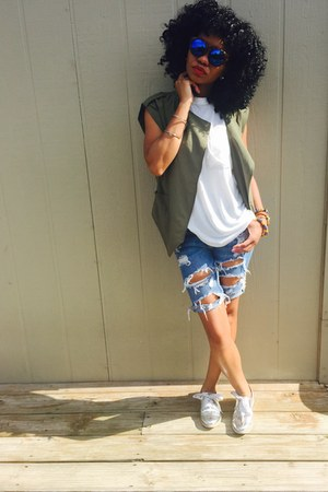 Michael Kors watch - American Eagle shorts - Forever21 sunglasses - MNG vest