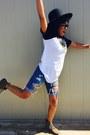 Forever-21-boots-forever-21-hat-forever-21-shirt-american-eagle-shorts