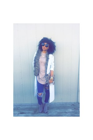 Forever 21 coat - boots - jeans - scarf - top
