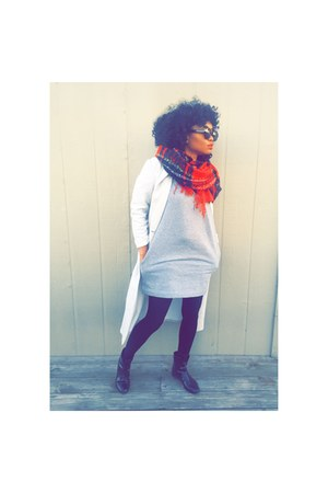 boots - dress - coat - Forever 21 scarf