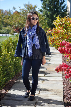 navy jean Loft jacket - navy American Eagle jeans - charcoal gray Forever 21 top