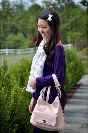 light pink coach bag - deep purple American Eagle top