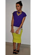 Butler and Wilson necklace - Zara bag - Reiss heels - vintage top - asos skirt